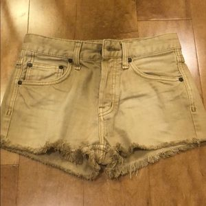 Free People tan button fly jean shorts W24